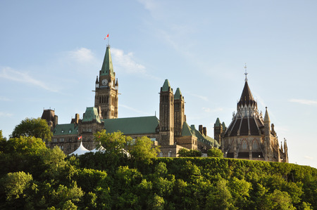 gothic revival: Parliament Buildings and Library, Ottawa, Ontario, Canada. Stock Photo