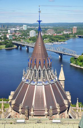 Aerial view of Parliament Library, Ottawa River and Gatineau skyline from Peace Tower, Ottawa, Ontario, Canada. Stock Photo