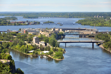 Aerial view of Victoria Island and Chaudière Island on Ottawa River viewed from Ottawa Parliament Peace Tower, Ottawa, Ontario, Canada. Stock Photo