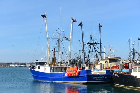 RHODE ISLAND - MAR. 27, 2016: Fishing Boat Timberwolf in Galilee, Narragansett, Rhode Island, USA.