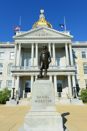 New Hampshire State House, Concord, New Hampshire, USA. New Hampshire State House is the nations oldest state house, built in 1816 - 1819. Stock Photo