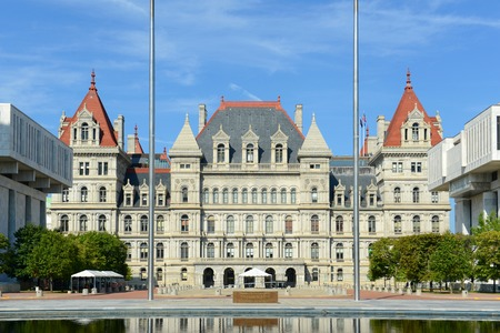 New York State Capitol, Albany, New York, USA. This building was built with Romanesque Revival and Neo-Renaissance style in 1867. Stock Photo