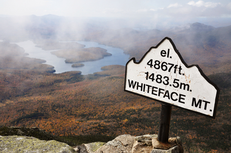 Lake Placid view from top of Whiteface Mountain in fall, Adirondack Mountains, New York State, USA Stock fotó