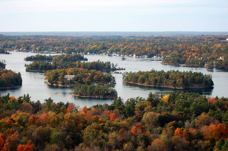 Aerian view of Thousand Islands in fall, from Sky deck on Hill Island, on the border of Ontario in Canada and New York State in USA. Stock Photo