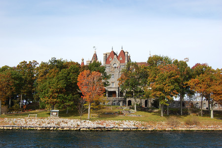 Boldt Castle and Alster Tower on Heart Island, Thousand Islands area of New York State, USA. Stock Photo