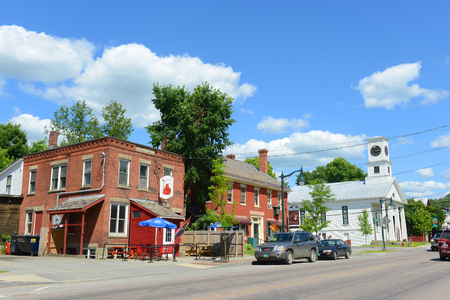 Main Street in the historic town of Johnson, Vermont, USA.