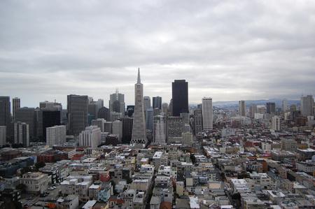 San Fransisco Skyline viewed from Coit Tower, San Fransisco, California, USA Stockfoto