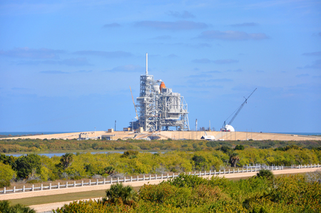 FLORIDA,USA - DEC 20, 2010: Space Shuttle Discovery on the Launch Pad prepare for her last mission (STS-133), Kennedy Space Center in Cape Canaveral, Florida, USA. Editorial