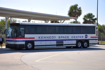 Kennedy Space Center shuttle between Visitor Complex and Launch Pad, Kennedy Space Center in Cape Canaveral, Florida, USA.