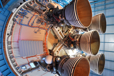 Saturn V Rocket Engines displayed in Apollo Saturn V Center, Kennedy Space Center Visitor Complex in Cape Canaveral, Florida, USA.