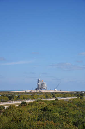 Space Shuttle Discovery on the Launch Pad prepare for her last mission (STS-133), Kennedy Space Center in Cape Canaveral, Florida, USA. Stock Photo