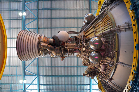 Saturn V Rocket displayed in ApolloSaturn V Center, Kennedy Space Center Visitor Complex in Cape Canaveral, Florida, USA. Editorial