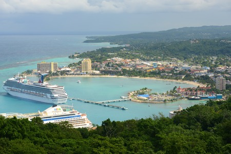 Ocho Rios and Carnival Cruise Victory aerial view from the top of Mystic Mountain in Ocho Rios, Jamaica.