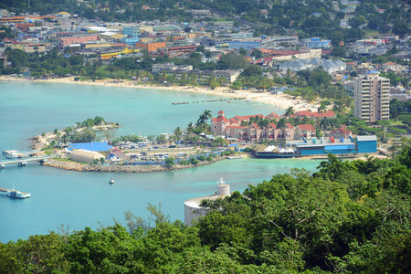 Ocho Rios aerial view from the top of Mystic Mountain, Jamaica.