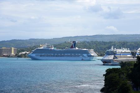 Carnival Cruise ship Victory anchor offshore in Ocho Rios, Jamaica. Editorial