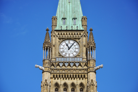 Peace Tower (officially: the Tower of Victory and Peace) of Parliament Buildings, Ottawa, Ontario, Canada. Stock Photo