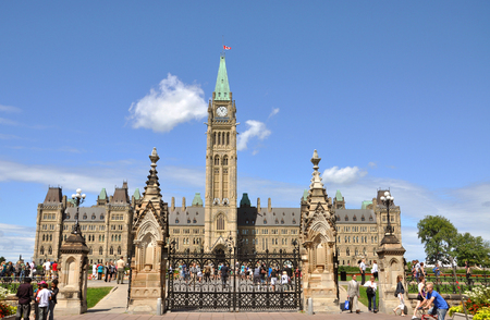 Canada Parliament Buildings in downtown Ottawa, Ontario, Canada. 免版税图像