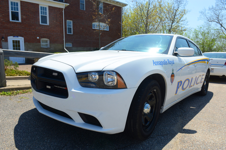 Dodge Charger Police Car in Annapolis Royal, Nova Scotia, Canada. The historic core of Annapolis Royal was designated a National Historic Site of Canada in 1994.