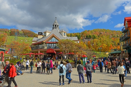 Colorful Houses in villiage of Mont-Tremblant, Quebec, Canada.