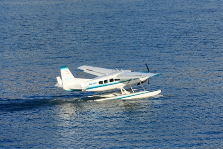 Vancouver Seair Cessna 208 Caravan Seaplane in Vancouver Harbour, Vancouver, British Columbia, Canada.