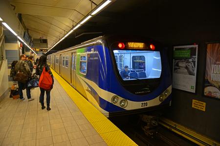 Vancouver SkyTrain Metro Canada Line in Vancouver City Centre Station in Vancouver, British Columbia, Canada.
