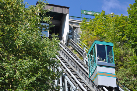 The Old Quebec Funicular links Upper Town to Lower Town is a funicular railway in Old Quebec, Canada. Old Quebec City is UNESCO World Heritage Site.
