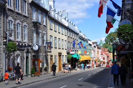 Colorful Houses on Rue Saint Louis (St. Louis Street) in Quebec City, Quebec, Canada. Old Quebec City is UNESCO World Heritage Site since 1985.