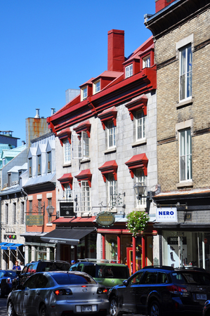 Colorful Houses on Rue Saint Jean, Old Quebec City, Quebec, Canada. Historic District of Quebec City is UNESCO World Heritage Site since 1985.
