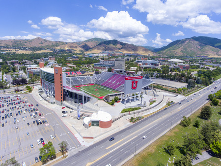 Aerial view of Rice-Eccles Stadium in University of Utah in Salt Lake City, Utah, USA. It is the home of Utah Utes and served as the main stadium for 2002 Winter Olympics.