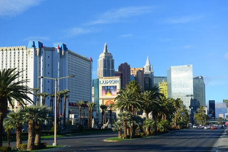 Las Vegas Strip facing north, photo includes Excalibur, New York-New York, CityCenter and ARIA from the left to the right in Las Vegas, Nevada, USA.