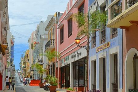 Historic building on Calle de San Justo between Calle de San Francisco and Calle de la Fortaleza in Old San Juan, Puerto Rico. Editorial