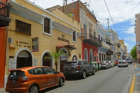 Historic building on Calle de San Francisco near Plaza de Colon in Old San Juan, Puerto Rico.