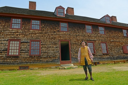 Historical Patriot Reenactor in Fort Western is a former British colonial outpost on the Kennebec River in Augusta, Maine, USA.