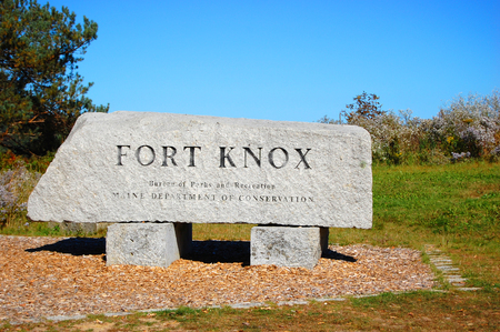 Entrance to Fort Knox State Historic Site in Prospect, Maine, USA. Imagens