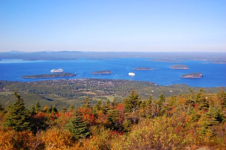 Bar Harbor aerial view in Acadia National Park, from Cadillac Summit, Maine, USA.