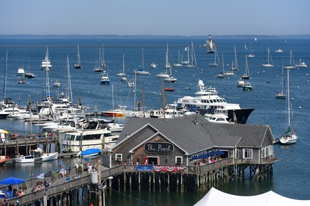 Aerial view of Rockland Harbor during Rockland Lobster Festival in summer, Rockland, Maine, USA.