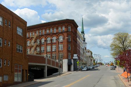 Historic Blocks at Hammond Street in downtown Bangor, Maine, USA.