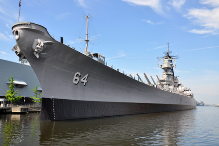 USS Wisconsin Battleship (BB-64) in Norfolk, Virginia, USA 報道画像