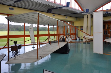 Model of First Airplane in Wright Brothers National Memorial, Kill Devil Hills, North Carolina, USA.