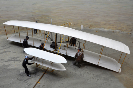 Model of First Airplane in Wright Brothers National Memorial in Kill Devil Hills, North Carolina, USA