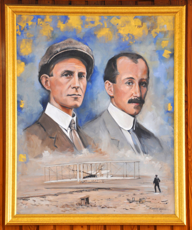 Portrait of Wright Brothers in Wright Brothers National Memorial Museum in Kill Devil Hills, North Carolina, USA.