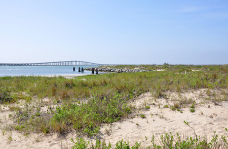 Herbert C Bonner Bridge in Cape Hatteras National Seashore, on Outer Banks, North Carolina, USA.