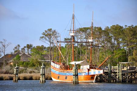 Antique ship Elizabeth II in Roanoke Island Festival Park, Roanoke Island, Outer banks, North Carolina, USA. Stock Photo