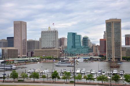 Baltimore Inner Harbor skyline, Baltimore, Maryland, USA.