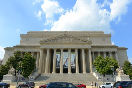 National Archives and Records Administration front facade in Washington DC, USA. National Archives holds the original copies of the Declaration of Independence, the Constitution, and the Bill of Rights.
