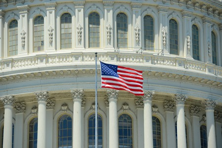 US National Flag in front of United State Capitol Building in Washington, District of Columbia, USA.