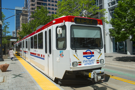 UTA Light Rail Siemens SD-160 Blue Line at Gallivan Plaza Station in downtown Salt Lake City, Utah, USA. Редакционное