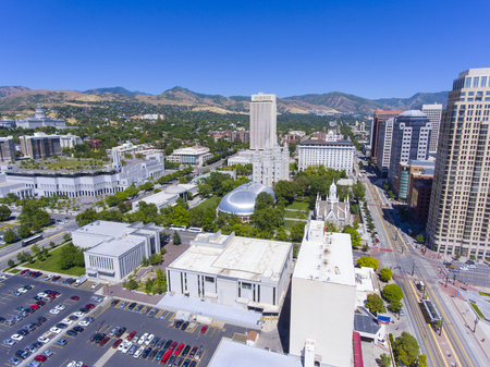 Aerial view of Temple Square, including Salt Lake Temple, LDS Church Office Building in downtown Salt Lake City, Utah, USA.