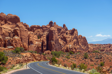 Mesa and Butte landscape near south of Sand Dune Arch in Arches National Park, Moab, Utah, USA.