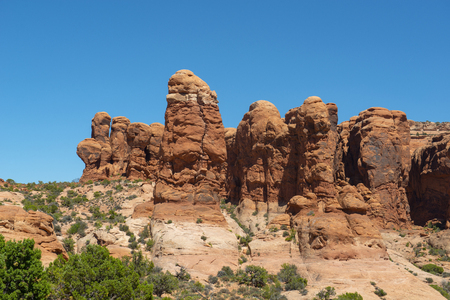 Mesa and Butte landscape at Devils Garden in Arches National Park, Moab, Utah, USA.
